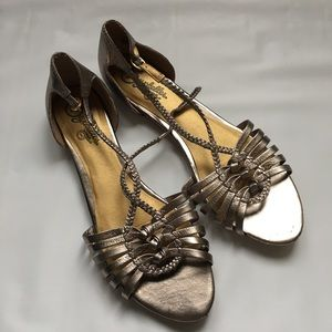 Seychelles Anthropologie gold sandal size 9